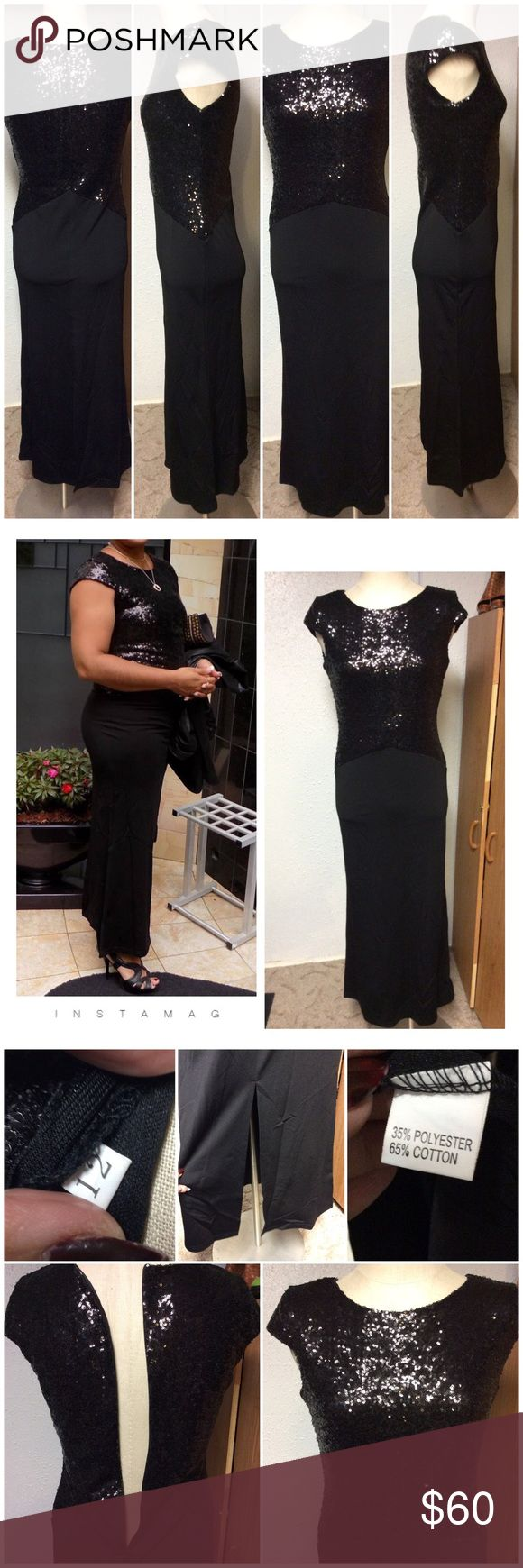 Boutique Dress Size 10. No brand. Worn once by me on a cruise for a formal dinner for 2 hours. Pull on over head style. Says 12 but runs small. Nicole's Resale Dresses Maxi