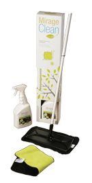 Mirage Clean: Environmentally friendly maintenance kit. Specially designed to care for your hardwood flooring, the ecological Mirage Clean Maintenance Kit makes life easier for you.