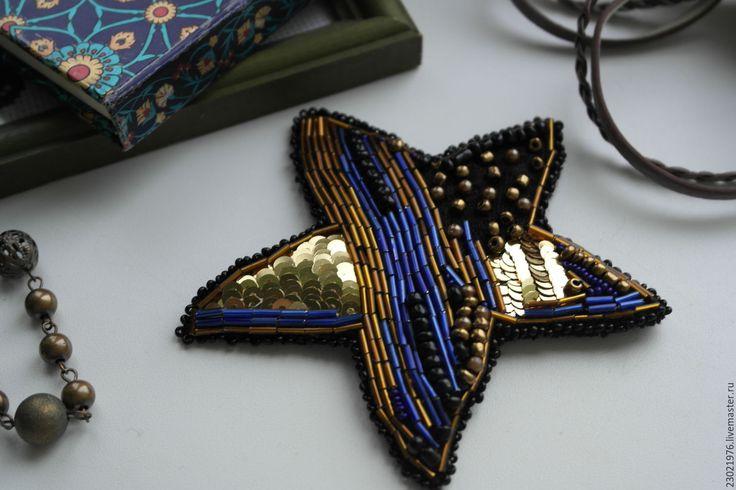 Купить брошь из пайеток Звезда - тёмно-синий, брошь ручной работы, брошь
