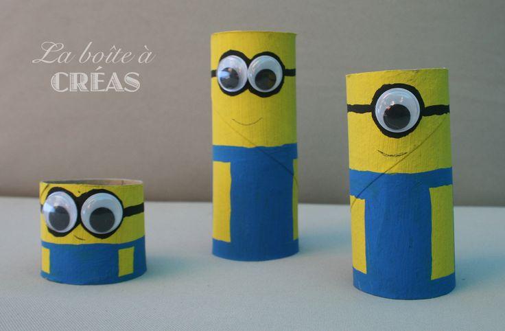 """Minions en rouleaux de papier toilette  La boîte à créas - pour enfin répondre à la question """"On fait quoi aujourd'hui?"""""""