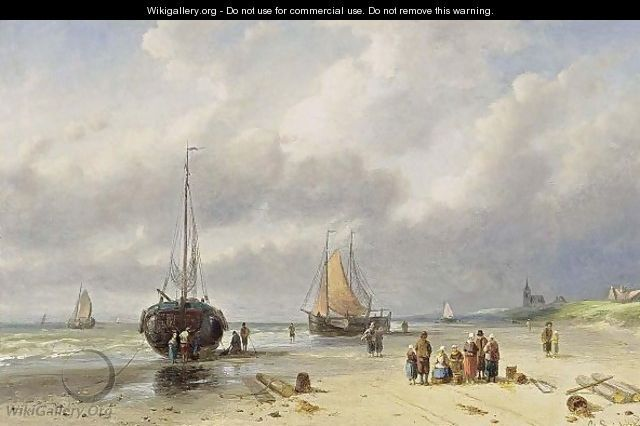 Fisherfolk On The Beach - Charles Henri Leickert