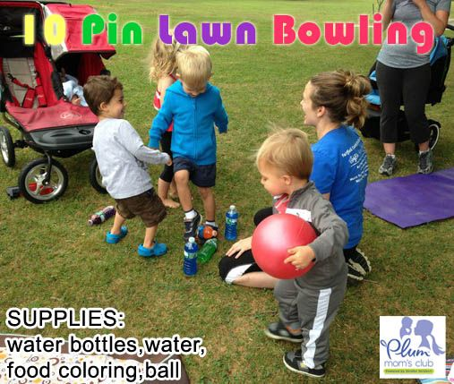10 water bottles full of colored water for pins, beach balls for the bowling balls and we've got lawn bowling!  The kids lined up and took turns trying to knock all the pins down with the ball.  We counted the pins that fell and called out their colors.  A great activity that reinforced counting and colors and patience as they waited for their turns.