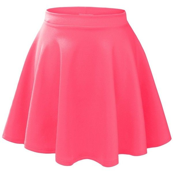 LE3NO Womens Basic Versatile Stretchy Flared Skater Skirt ($35) ❤ liked on Polyvore featuring skirts, pink skater skirt, pink circle skirt, flared skirt, flare skirts and wide skirt