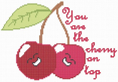 Big list of free Valentine cross stitch charts plus a cherry on top cross stitch chart. Free download at Hancock's House of Happy http://hancockshouseofhappy.blogspot.com/2012/02/great-big-list-of-free-valentines-cross.html