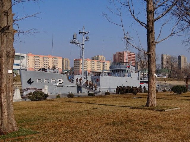 Captured by the North Koreans in 1968, the US electronic, and signals intelligence gathering ship, USS Pueblo in Pyongyang, on display as a floating museum since 2013.