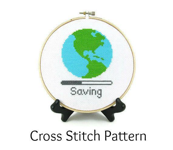 Saving Planet Earth Cross Stitch PATTERN Earth Day. $4.00, via Etsy.