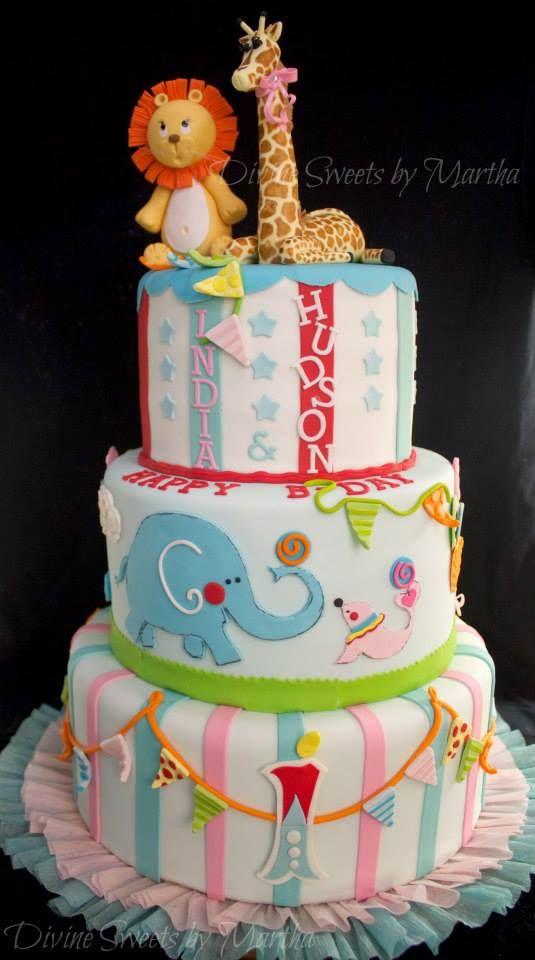 darling animal themed birthday cake