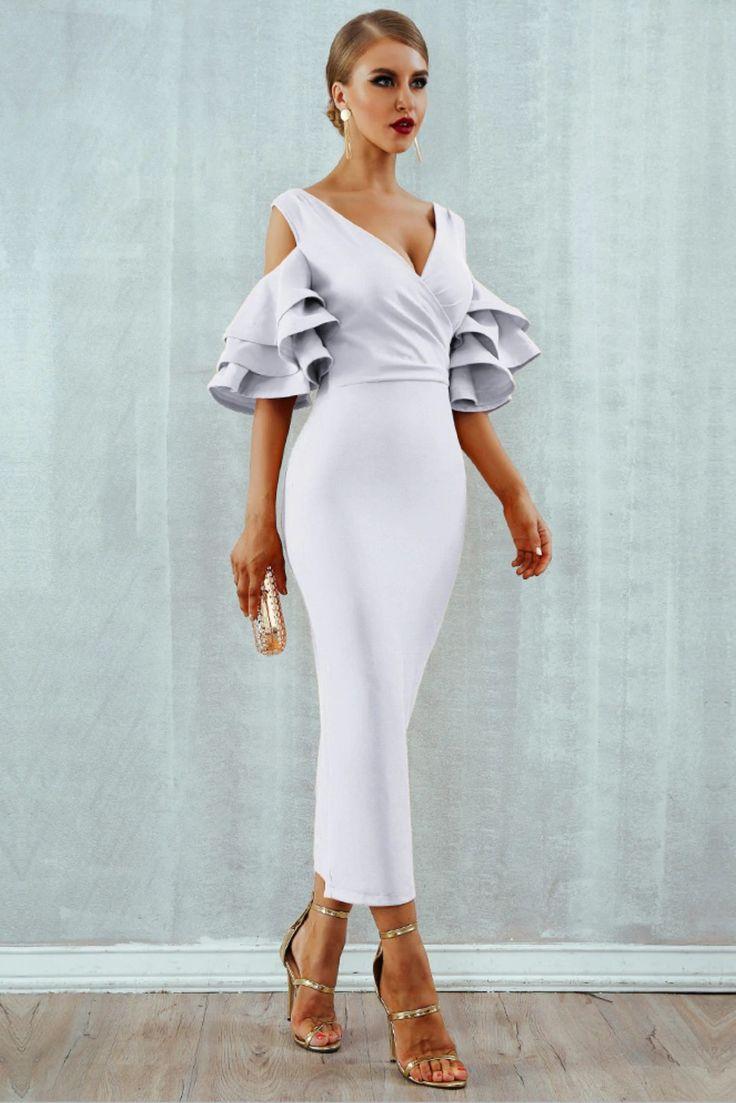 Luxurious new 2019 ruffle butterfly short sleeve midi