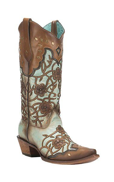 Corral Boot Company Women's Turquoise with Brown Overlay Flowers and Studs Western Snip Toe Boots   Cavender's