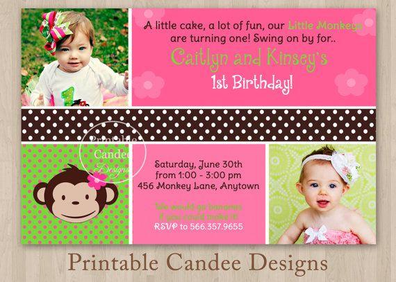 7 best second birthday images on pinterest birthday invitations mod monkey twin girls birthday invitation by printablecandee 1000 filmwisefo Choice Image