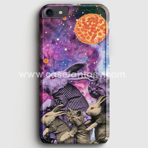 Purple Pizza Galaxy Bunnies & Cats iPhone 7 Case | casefantasy
