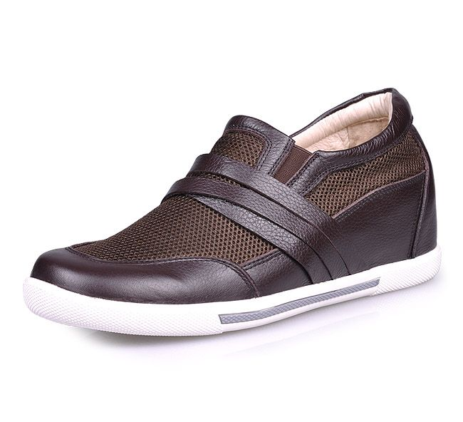 Brown  tall shoes men 7cm / 2.75inch with the SKU:MENJGL_A889_2 - Brown men height increase casual shoes can be taller 7cm / 2.75inches