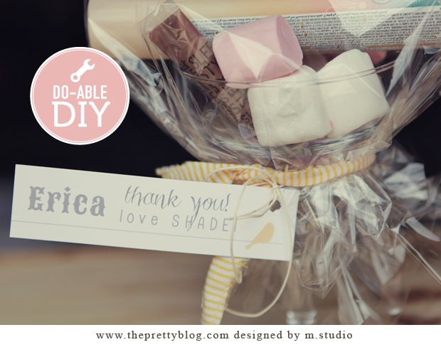 Bridesmaid's gifts! Fill a martini glass with little pamper goodies and cover with cellophane. Tie with ribbon and add a cute tag!
