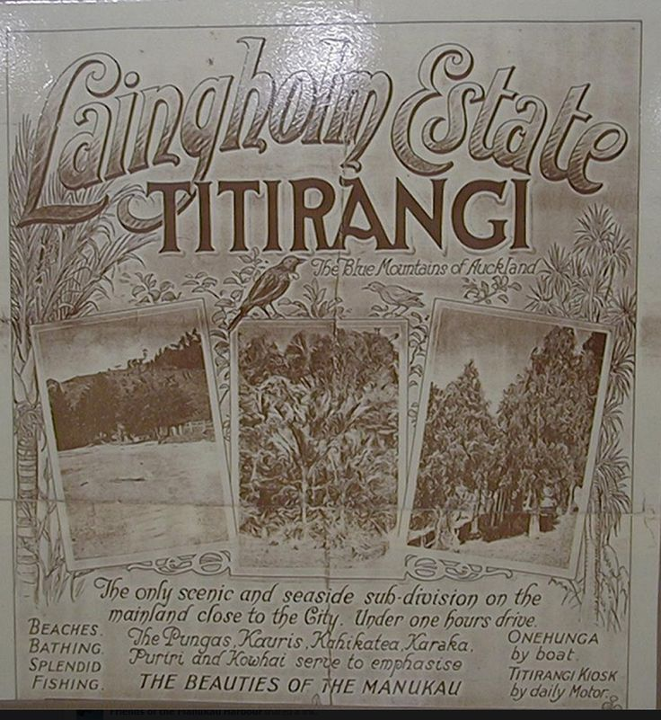 "LAINGHOLM, on the shores of the Manukau Harbour, Auckland, New Zealand .... ""The Blue Mountains of Auckland"" Fantastic old advertising poster"