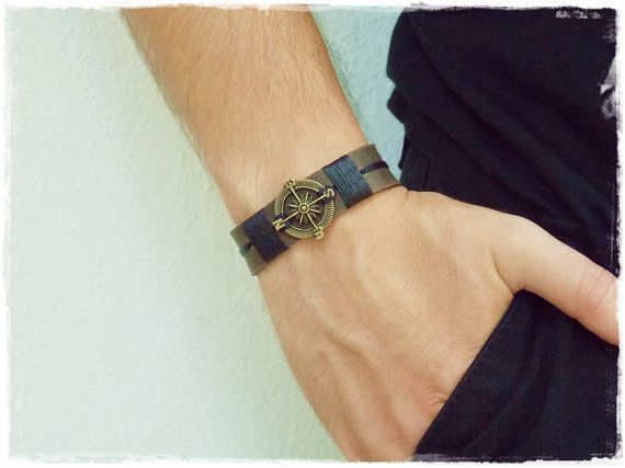 Nautical Bracelet, Compass Leather Bracelet, Traveler's Bracelet, Steampunk Men's Bracelet, Leather Gothic Cuff, Rustic Leather Bracelet