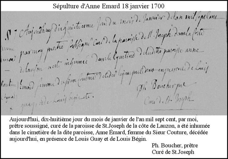 Anne Émard (Aymard) sépulture 18 janvier 1700m détails