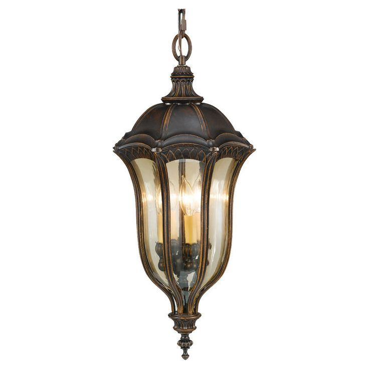 the feiss whitaker three light outdoor pendant fixture in astral bronze creates a warm and inviting