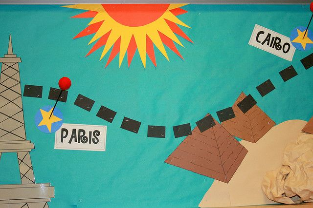 Bulletin Board Close Up by Bunches and Bits {Karina}, via Flickr...travel theme classroom