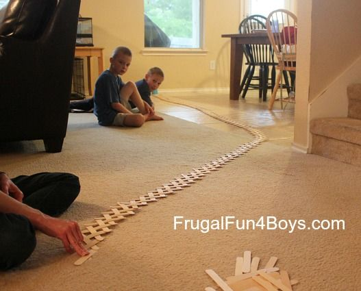 Build a Chain Reaction with Popsicle or Craft Sticks - Frugal Fun For Boys