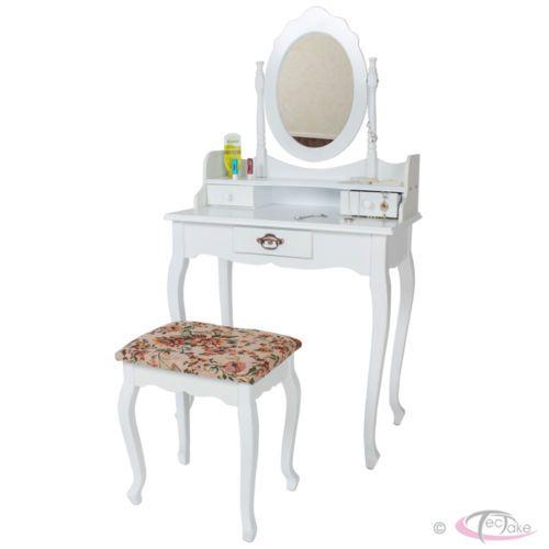 Tocador con taburete mesa de maquillaje con espejo y - Tocador con espejo ...