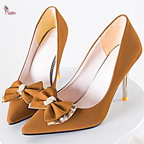 RTRY Chaussures pour femmes Bottes Mode Confort Automne PU talon Bottes bout rond bottes Mid-Calf Pour Lace-up Noir Jaune Jaune occasionnels US5.5 / EU36 / UK3.5 / CN35 yZn9J