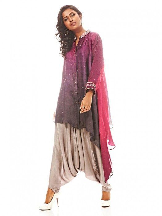 5925fbaa1 Purple Silk Dhotistyle Suit