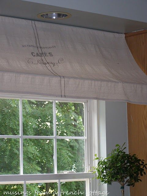 indoor window awning tutorial: Kitchens Window, Awning Tutorials, French Cafe, Window Awning, Tension Rods, Window Treatments, Cafe Curtains, French Cottages, Cottages Window
