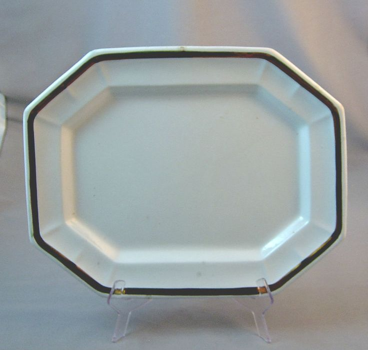 """White Ironstone Gothic Octagon 15 1/2"""" Platter - Copper Lustre #LivesleyPowellCo"""