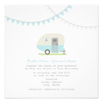 A wedding invitation featuring an illustration of a blue vintage trailer parked in grass. Trailer has a window box filled with daisies and black eyed susans. Blue and gray bunting at top. Personalize the text with details of your occasion. Look for matching items at Jill's Paperie. #wedding #trailer #camper #trailer #wedding #camper #wedding #bunting #retro #wedding #blue trailer