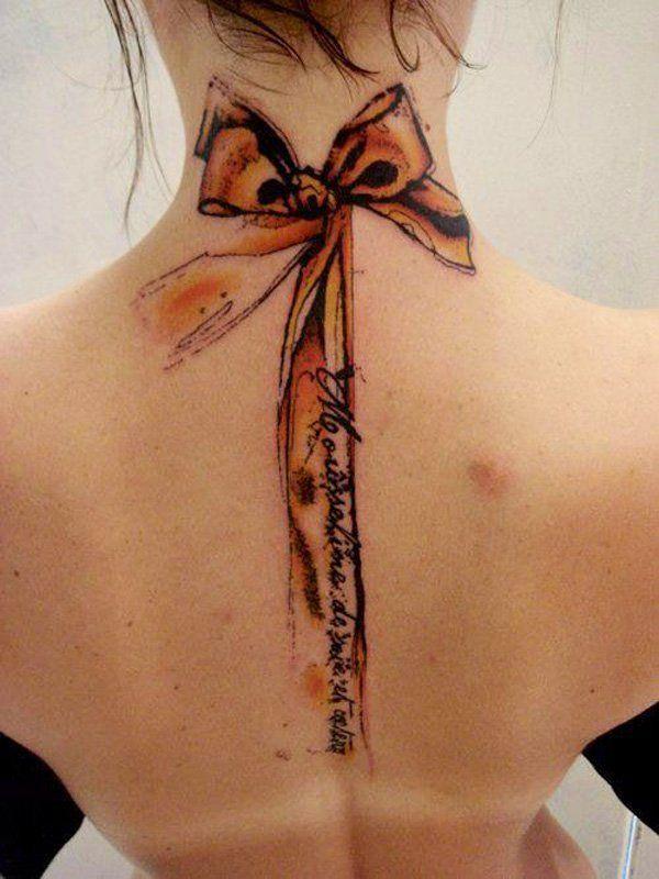 Tatouage de ruban aquarelle sur le cou Le cou est l'un des endroits les plus remarquables pour le tatouage ….   – ink