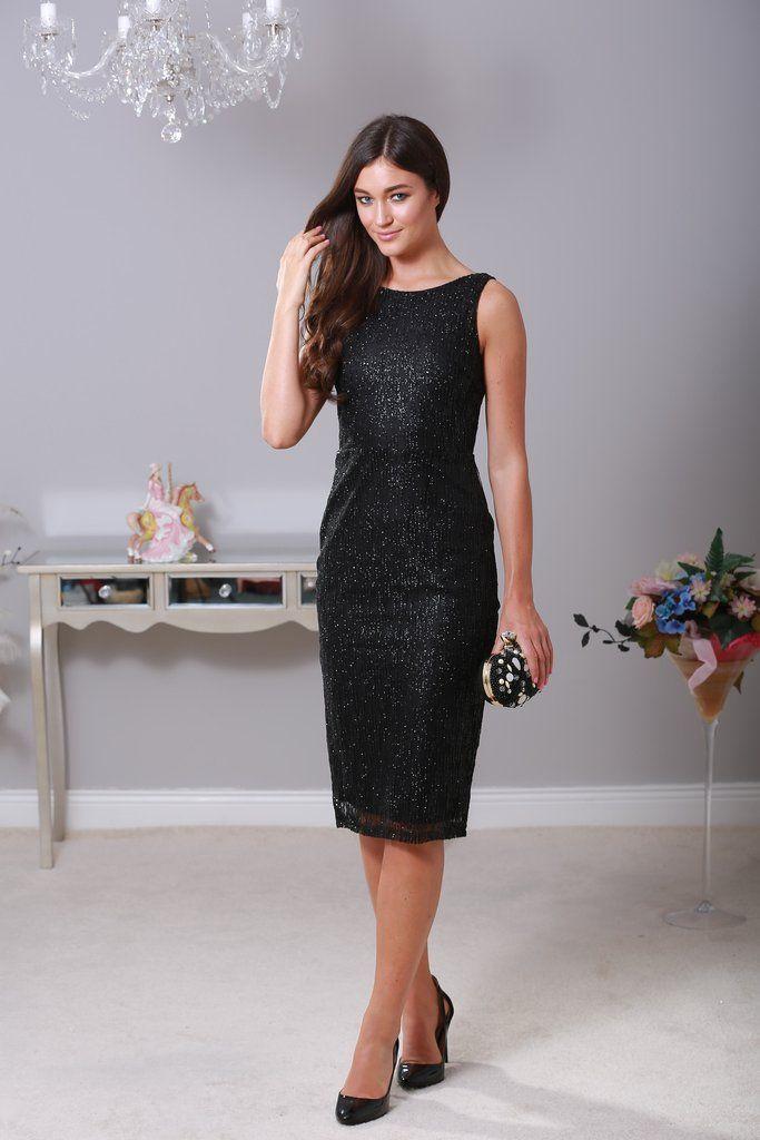 Sienna Embellish Midi Black Dress