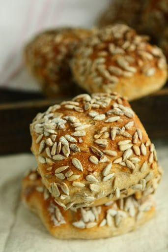 Overnight Yogurt Sunflower Seed Bread Rolls  (develops a slight sour tang due to the overnight fermentation.)