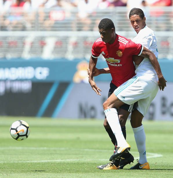 Marcus Rashford of Manchester United in action with Raphael Varane of Real Madrid during the International Champions Cup 2017 preseason friendly...