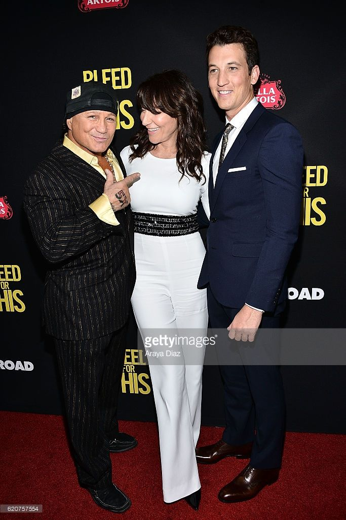 Vinny Pazienza, Katey Sagal and Miles Teller attend the premiere of Open Road Films' 'Bleed For This' at Samuel Goldwyn Theater on November 2, 2016 in Beverly Hills, California.