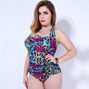 Sexy leopard print One Piece Swimsuit plus size Swimwear women monokini plus size swimsuits women bathing suit