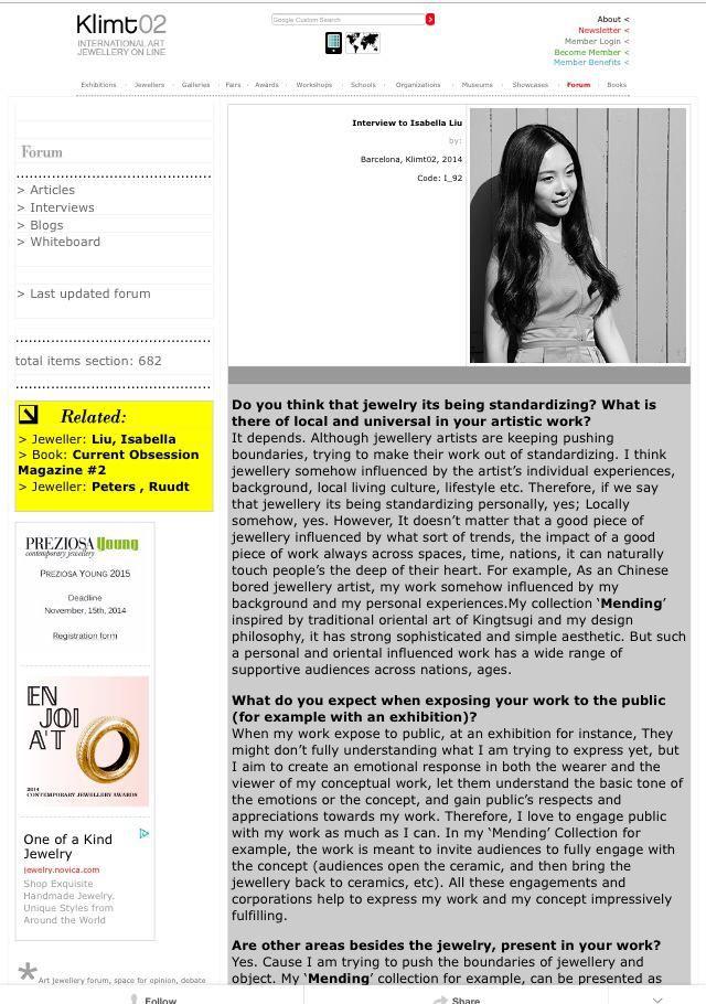 2014 – Isabella Liu works and portfolio exhibits at Klimt02, Barcelona, Spain.[copyright reserved to @IsabellaLiu]