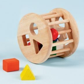 Baby Toys: Shape Sorter by Land of Nod. $24.95. Rub-a-dub-dub, a wood toy your kid will love. The classic Rolling Shape Sorter is a fun way for kids to learn different shapes and sizes. *Safety Features* Non-toxic, water-based finish *Product Details* Child friendly colors Sorter includes six different shaped blocks Imported *Materials* Natural, chemical-free rubberwood construction *Age Range* Shape Sorter: 18 mos. and up