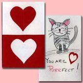 Craft Project: Instructions for making simple and easy Valentine cards using paper heart cutouts. Great for families and groups of kids.