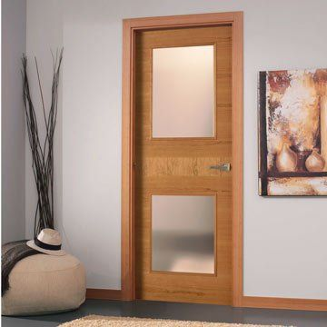 Simplicity and elegance. SanRafael Lisa style K18VA2 cherry veneered glazed fire door. #fireglassdoors