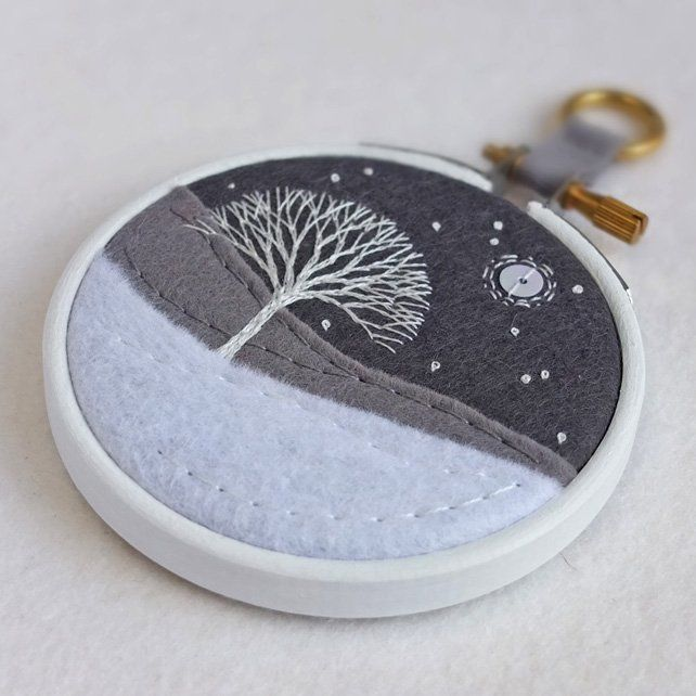 """Hand-embroidered Winter Landscape with Tree in 3"""" Painted Wooden Hoop £17.50"""