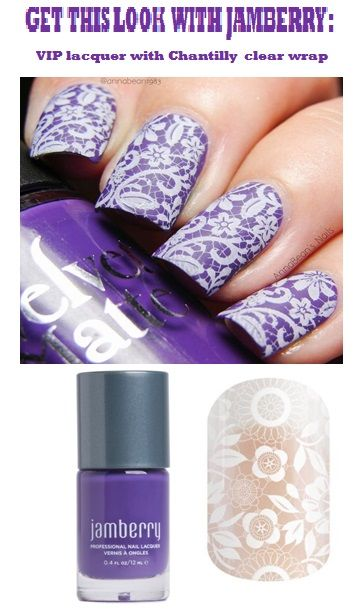 Recreate this look easily, with Jamberry lacquers and wraps: VIP lacquer under Chantilly clear wraps www.wildaboutwraps.jamberry.com