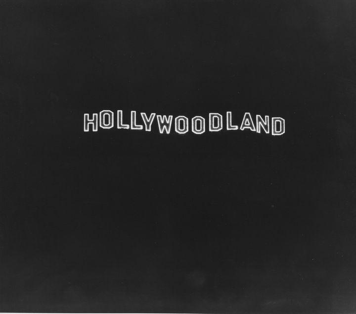 1924 Hollywoodland Sign Lighted At Night