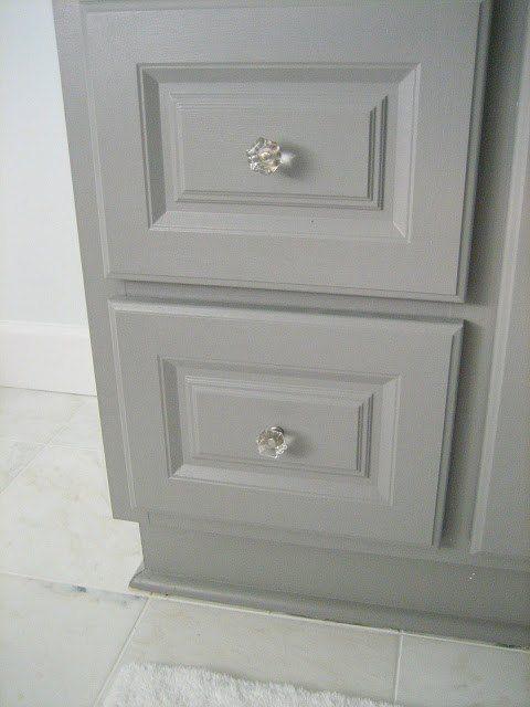 Diy custom gray painted bathroom vanity from a builder - Bathroom vanity knobs and handles ...