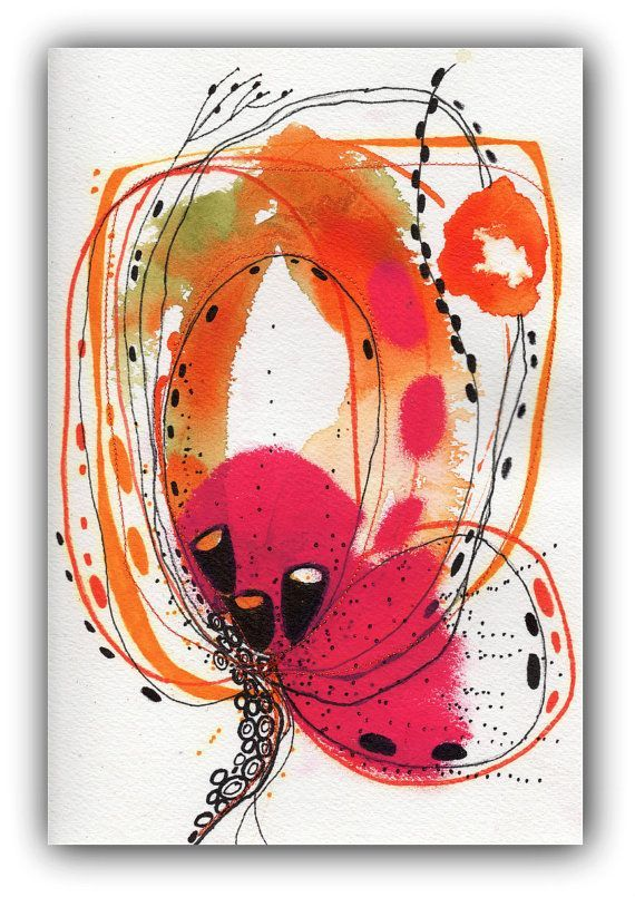 R2 Flower Abstract Painting Original Painting on by ChristinaRomeo, $42.00