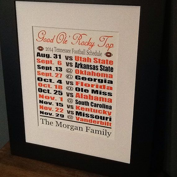 Tennessee football schedule custom family print by HomeDco on Etsy, $12.00