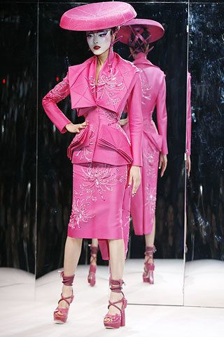 "Christian Dior Spring 2007 Couture inspired, according Galliano , ""by Pinkerton's affair with Cio-Cio San, Madame Butterfly""—reconfirmed his unique talent to evoke beauty, sensitivity, narrative, and emotion in a fashion show. Kimonos, obis, and geisha makeup"