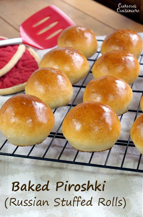 Soft and fluffy dinner rolls stuffed with a savory filling, Baked Russian Piroshki are the perfect portable meal. #SundaySupper | www.CuriousCuisiniere.com