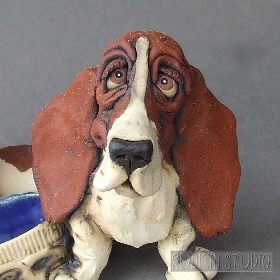 Basset Hound Desk Organizer Ceramic Sculpture by RudkinStudio