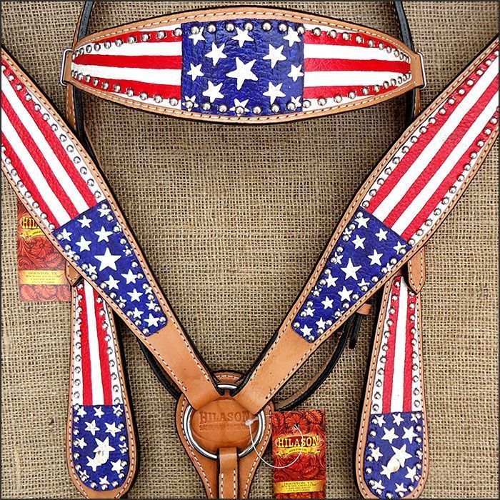 :::: PINTEREST.COM christiancross :::: HILASON WESTERN LEATHER HORSE BRIDLE HEADSTALL BREAST COLLAR HAND PAINT US FLAG