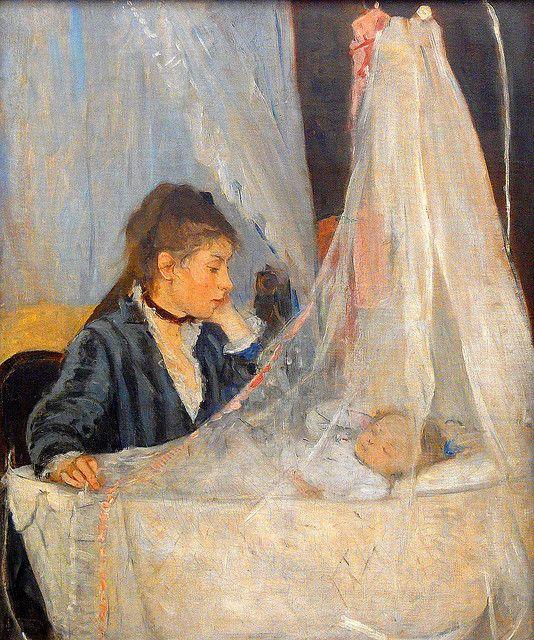 Berthe Morisot (Frankrijk 1841-1895) The Cradle, 1872.  Dit schilderij wijkt af van het vaak verbeelde beeld van de moeder als madonna met het kind in haar armen. Dit schilderij waar de moeder in de wieg naar haar kind kijkt verbeeld de afstand die vaak bestond tussen de bourgeoisie moeder en haar kind. Kinderen van rijkere gezinnen werden vaak door een zoogmoeder verzorgd.